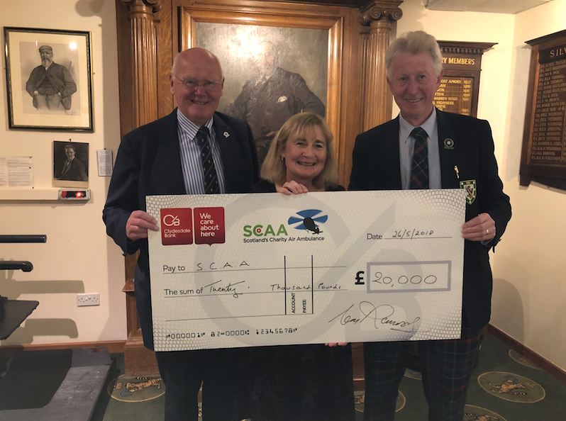 Mike Beale, of the SCAA (left) with club captains Elizabeth Henderson and Alan Ramsey