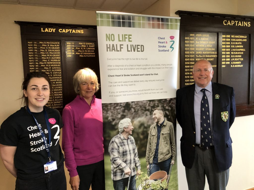 Rhiann MacLeod (far left) from Chest Heart and Stroke Scotland with Royal Dornoch captains Rob Murray and Norma Fleming